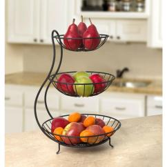 Kitchen Fruit Basket Aid Convection Oven 3 Tier Stacked Round Wire Serving Bowl Counter Space Saver Black