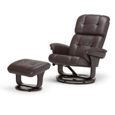 accent chair recliner dining room covers reclining wingback chairs the home depot merrin brown air leather set of 1