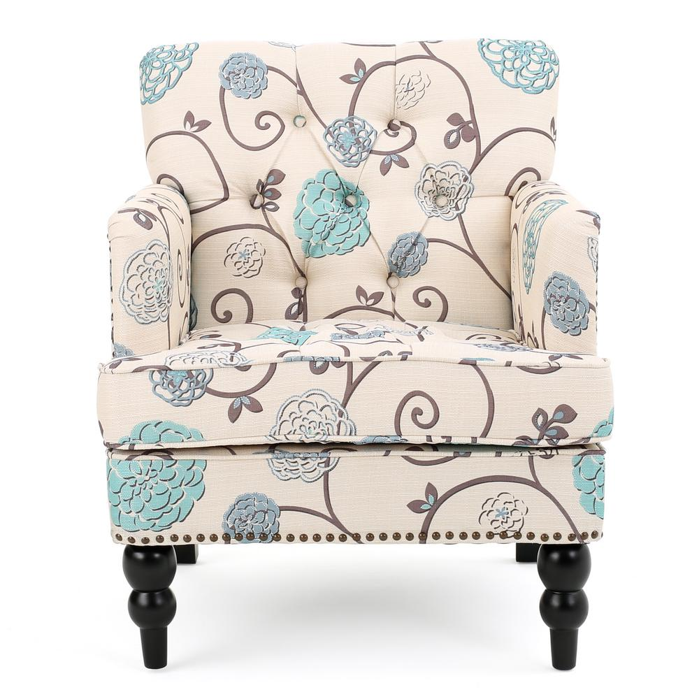 Blue Patterned Chair Noble House Malone Beige Linen Tufted Club Chair