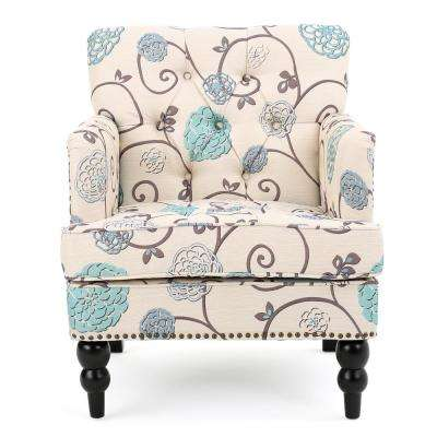white club chairs chair with footstool accent the home depot harrison and blue floral fabric tufted