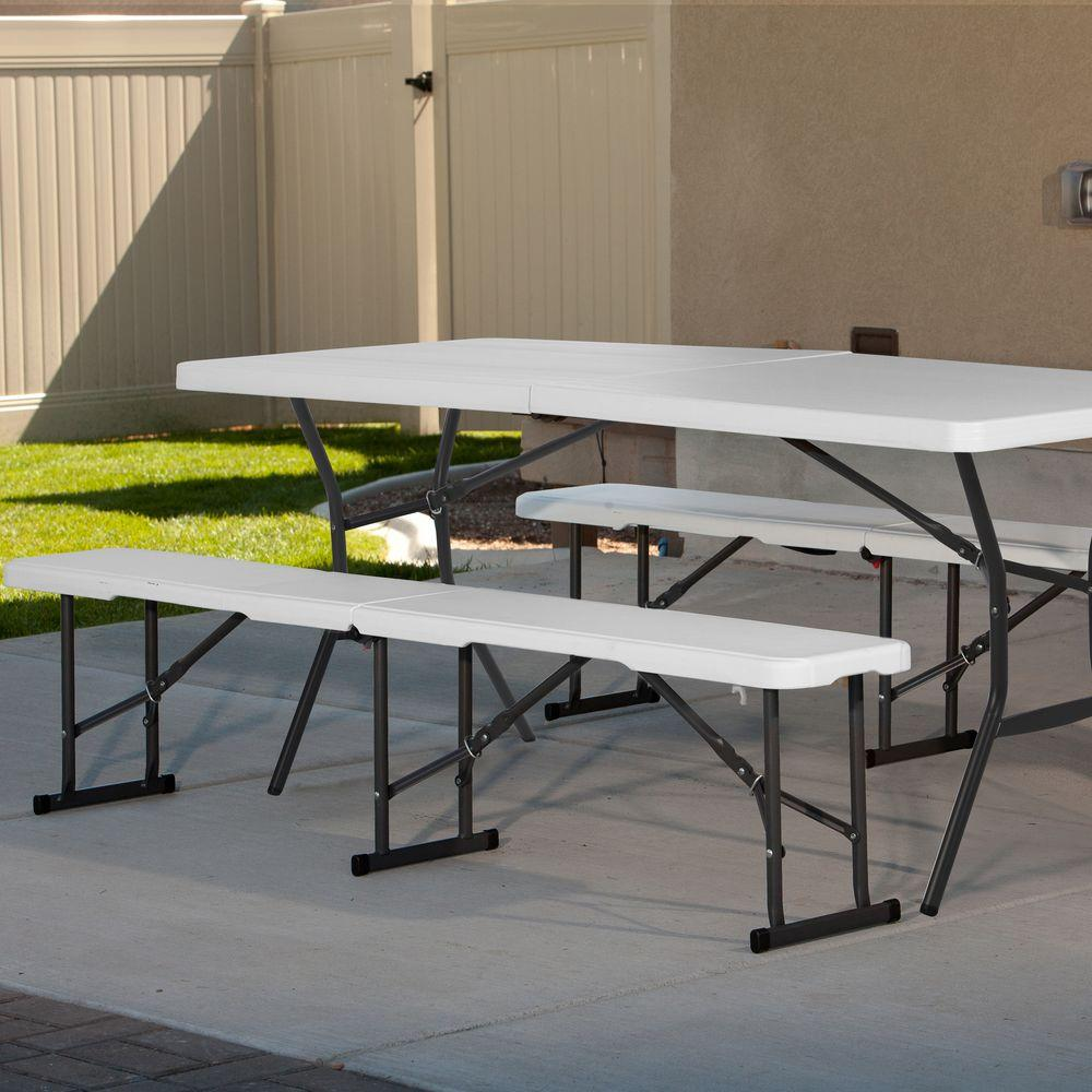 Lifetime 6 Ft Fold In Half Picnic Table With Benches