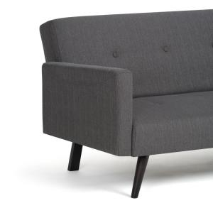 stretch morgan 1 piece sofa furniture cover convertible sofas for small spaces simpli home graphite grey linen look fabric bed internet 302366380 8