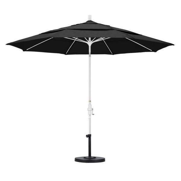 California Umbrella 11 Ft. Fiberglass Collar Tilt Double Vented Patio In Black Olefin