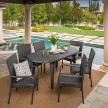 Noble House Jayson Grey 7-piece Wicker Oval Outdoor Dining