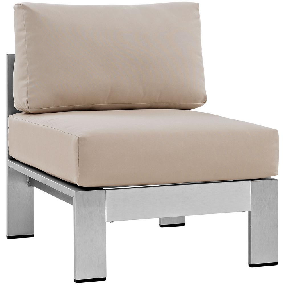 Lounge Chair Patio Modway Shore Armless Patio Aluminum Outdoor Lounge Chair In Silver With Beige Cushions