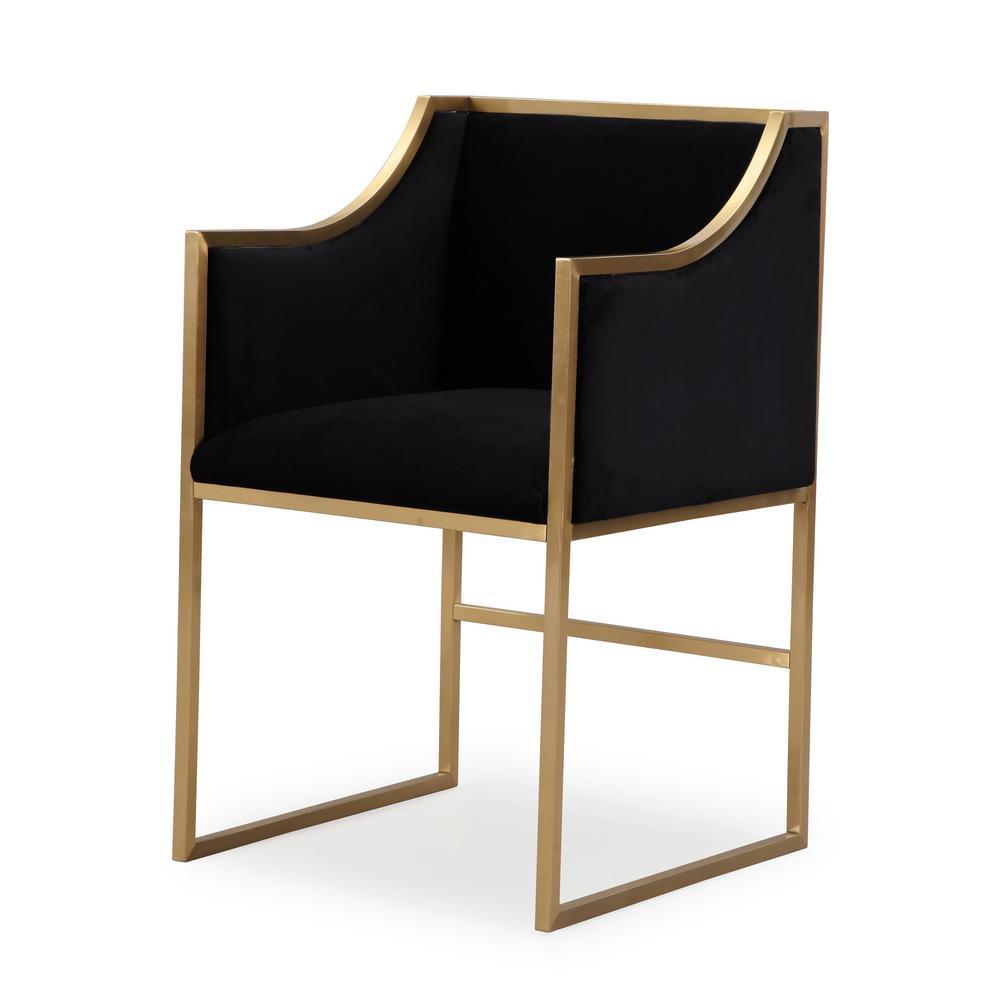 TOV Furniture Atara Black Velvet Gold ChairTOVL6121
