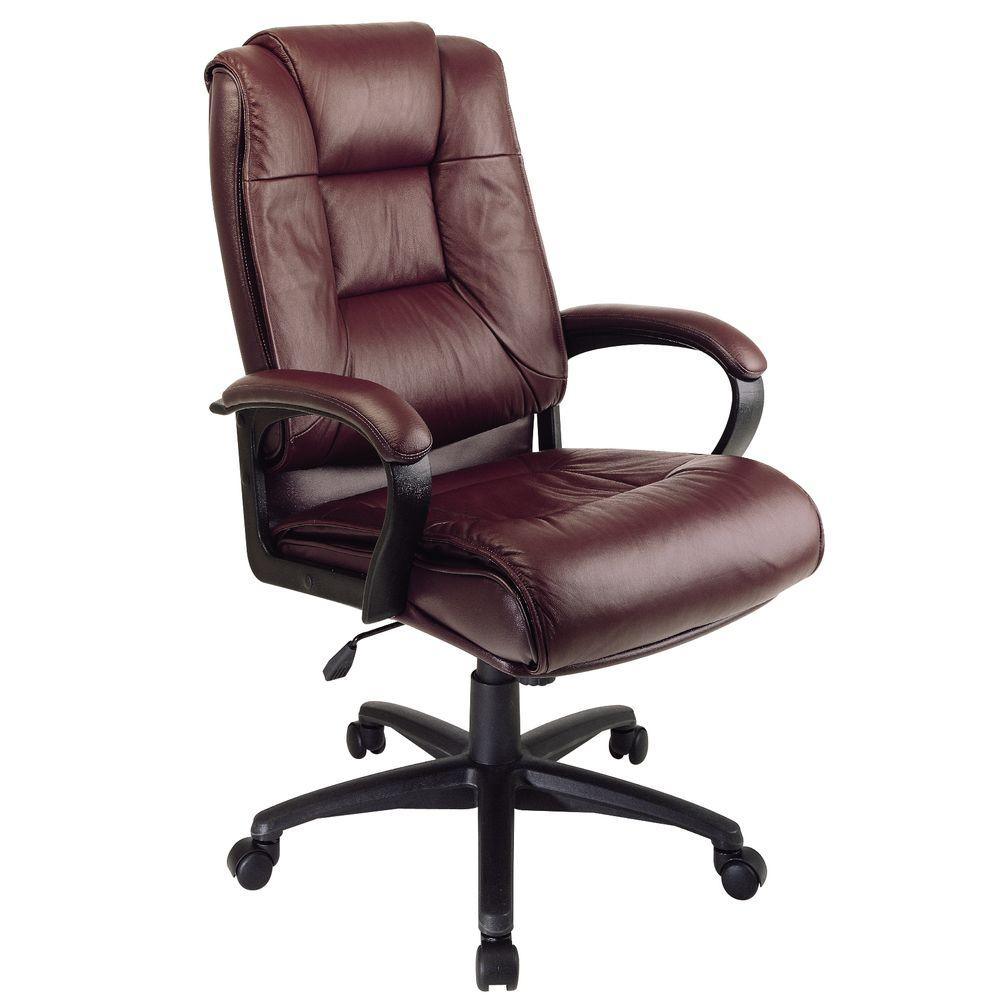 Work Chair Burgundy Leather High Back Executive Office Chair
