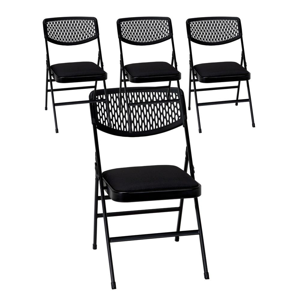 folding fabric chairs toddler booster chair cosco commercial black metal with padded seat and resin mesh back set of 4