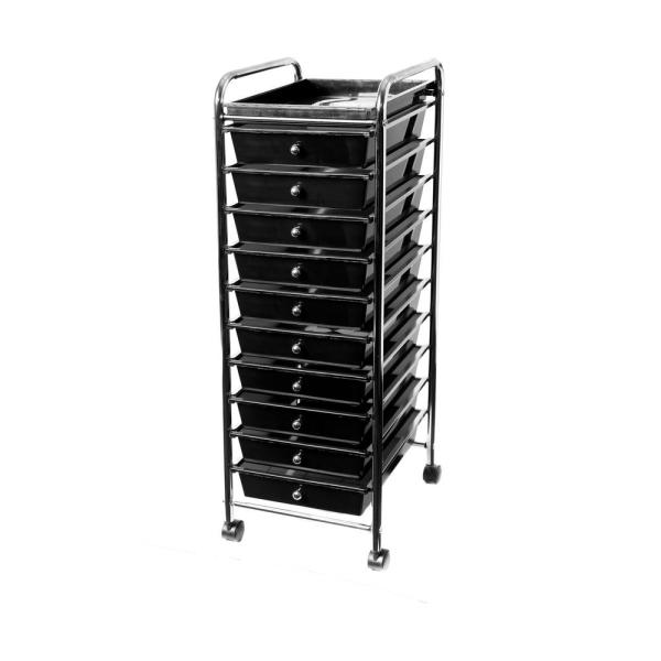 Seville Classics Black 10-drawer Organizer Cart With Tray-web481 - Home Depot
