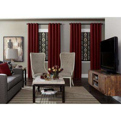 red and brown living room curtains white sheer in geometric grommet drapes window treatments custom drapery