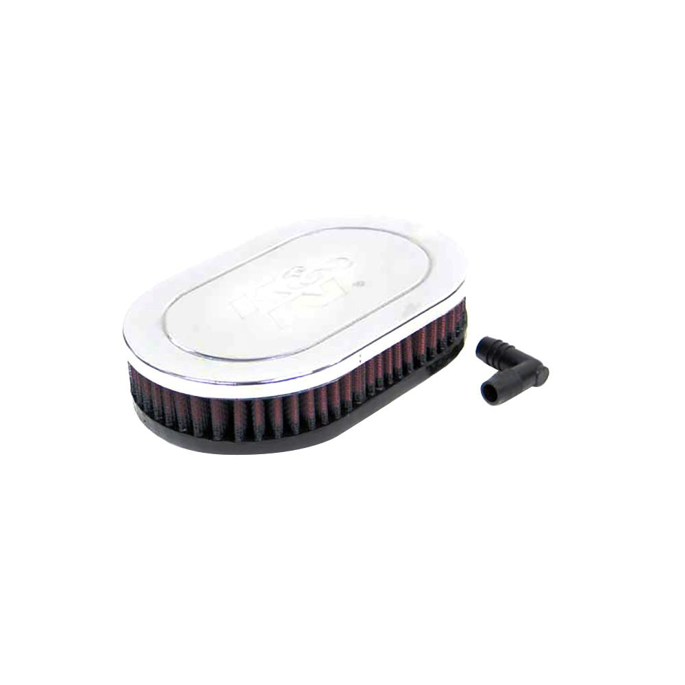K&N Universal Chrome Filter-Oval Straight 4.5 Inch O/S