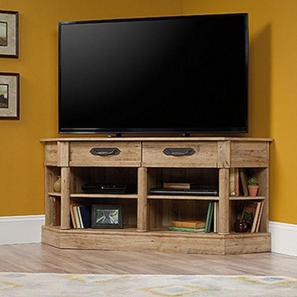 Sauder Viabella Collection Antigua Chestnut Corner Entertainment Credenza-420758 - Home Depot