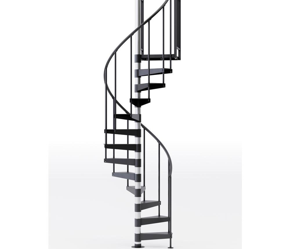 Mylen Stairs Reroute Prime Interior 42 Diameter 9 Treads With 1 | 9 Foot Spiral Staircase | 36 Tall | Stair Kit | Modern Staircase | Dolle Toronto | Stair Parts