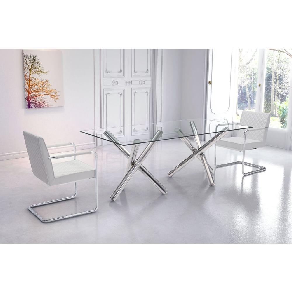 dining table with metal chairs futon sleeper chair zuo stant chrome 100351 the home depot