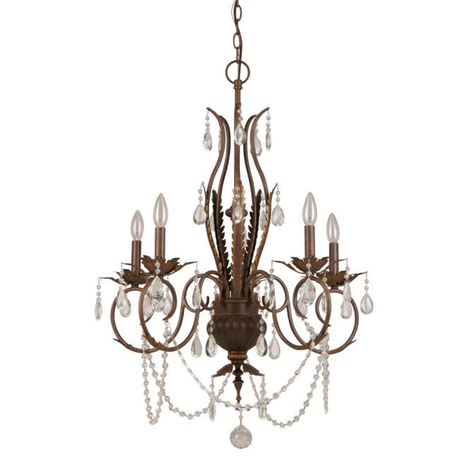 Hampton Bay 5 Light Bronze Crystal Chandelier Bvb9115a The Home Depot
