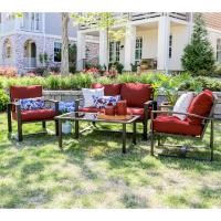 Jasper 4-Piece Aluminum Patio Conversation Set with Red ...