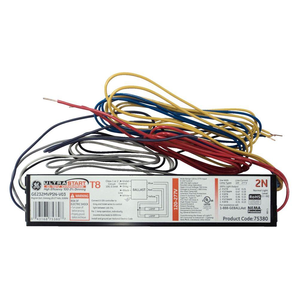 hight resolution of ge 120 to 277 volt electronic dimming ballast for 2 or 1 lamp t8 rh homedepot com electrical ballast electrical ballast