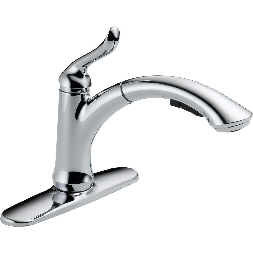 pull out spray kitchen faucet sink size delta linden single handle sprayer with multi flow in chrome