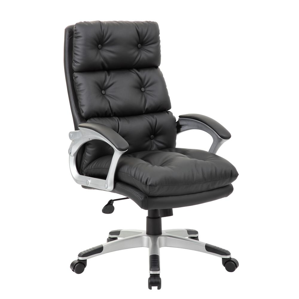 Tufted Leather Office Chair Black Button Tufted Executive Chair