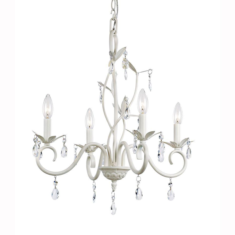 Hampton Bay 4-Light White Crystal Accent Chandelier-KDL
