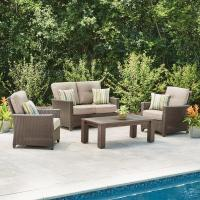 Hampton Bay Tacana 4-Piece Wicker Patio Deep Seating Set ...