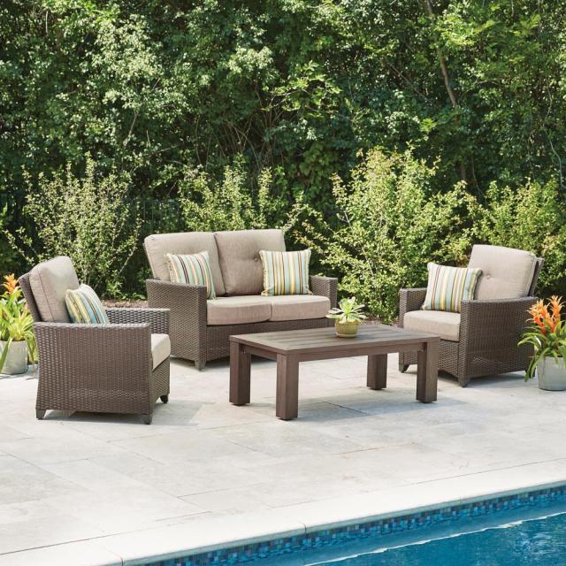 hampton bay tacana 4-piece wicker patio deep seating set with beige