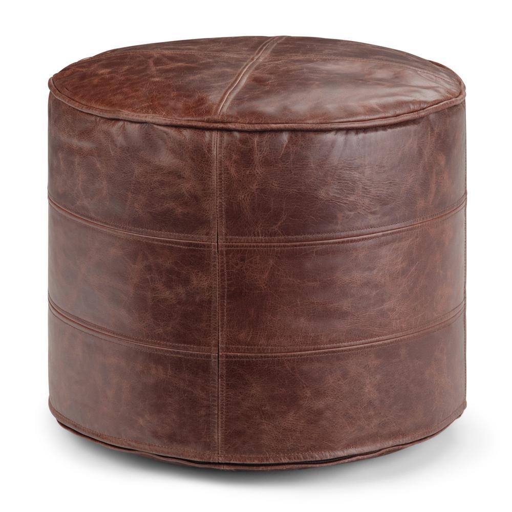 round brown leather ottomans