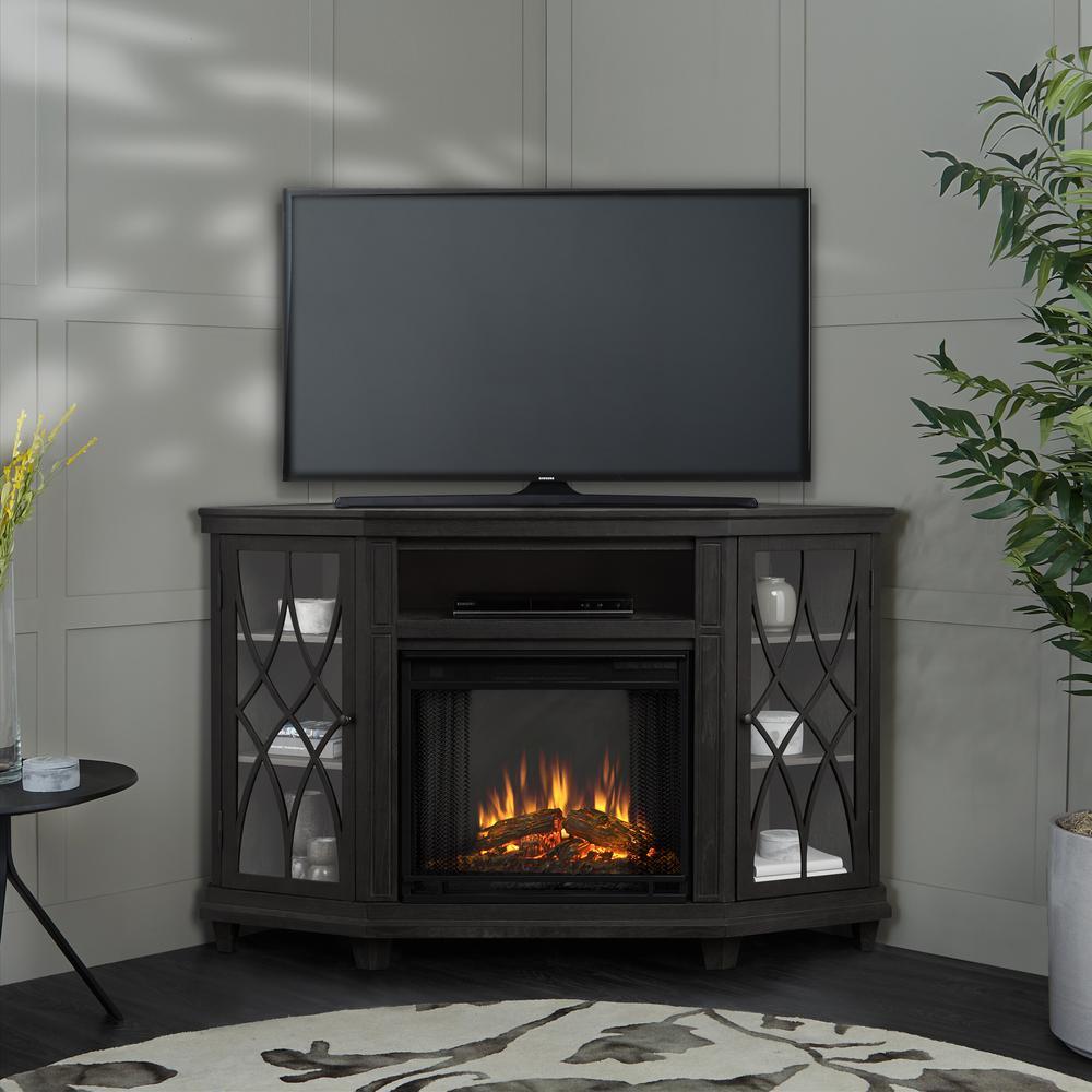 Real Flame Churchill 51 in Corner Media Console Electric Fireplace in Dark Espresso3750EDE