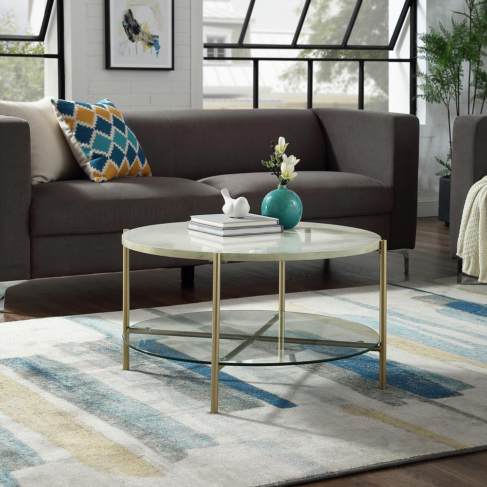 living room glass shelves sofa in the philippines walker edison furniture company 32 white marble top shelf gold legs round coffee table hdf32srdctmgd home depot