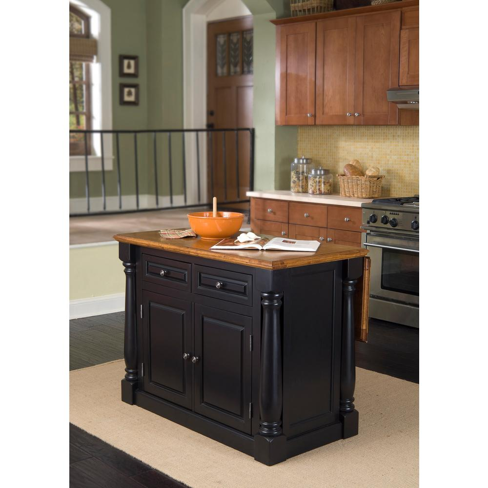 oak kitchen islands stainless steel table home styles monarch black and island 5008 94 the depot