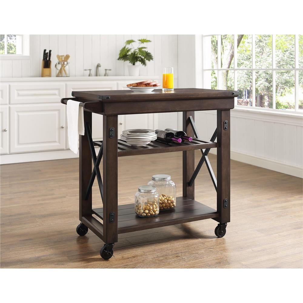 kitchen serving cart storage cabinet ameriwood forest grove espresso with towel bar