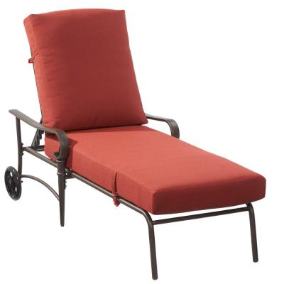 home depot lounge chairs motorized chair lift outdoor chaise lounges patio the hampton bay oak cliff metal with chili cushions