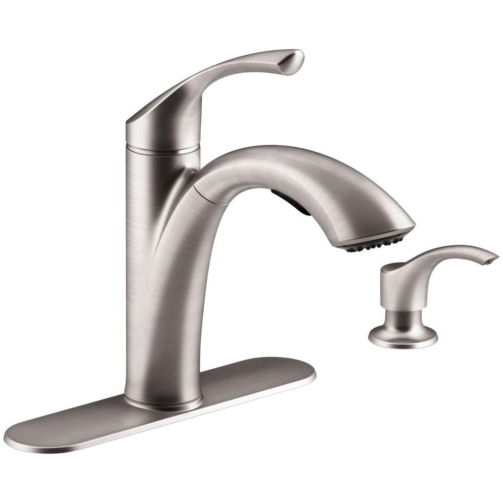 kitchen faucets stainless steel custom built cabinets kohler mistos single handle pull out sprayer faucet in