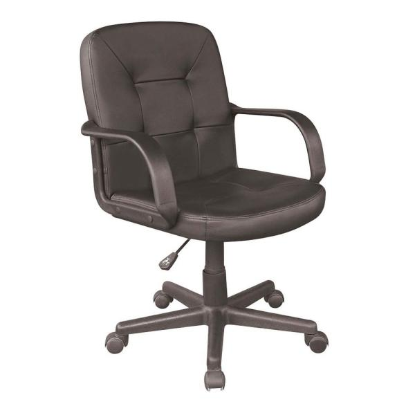 mid back office chair black OneSpace Black PU Mid-Back Office Chair-60-2380 - The Home