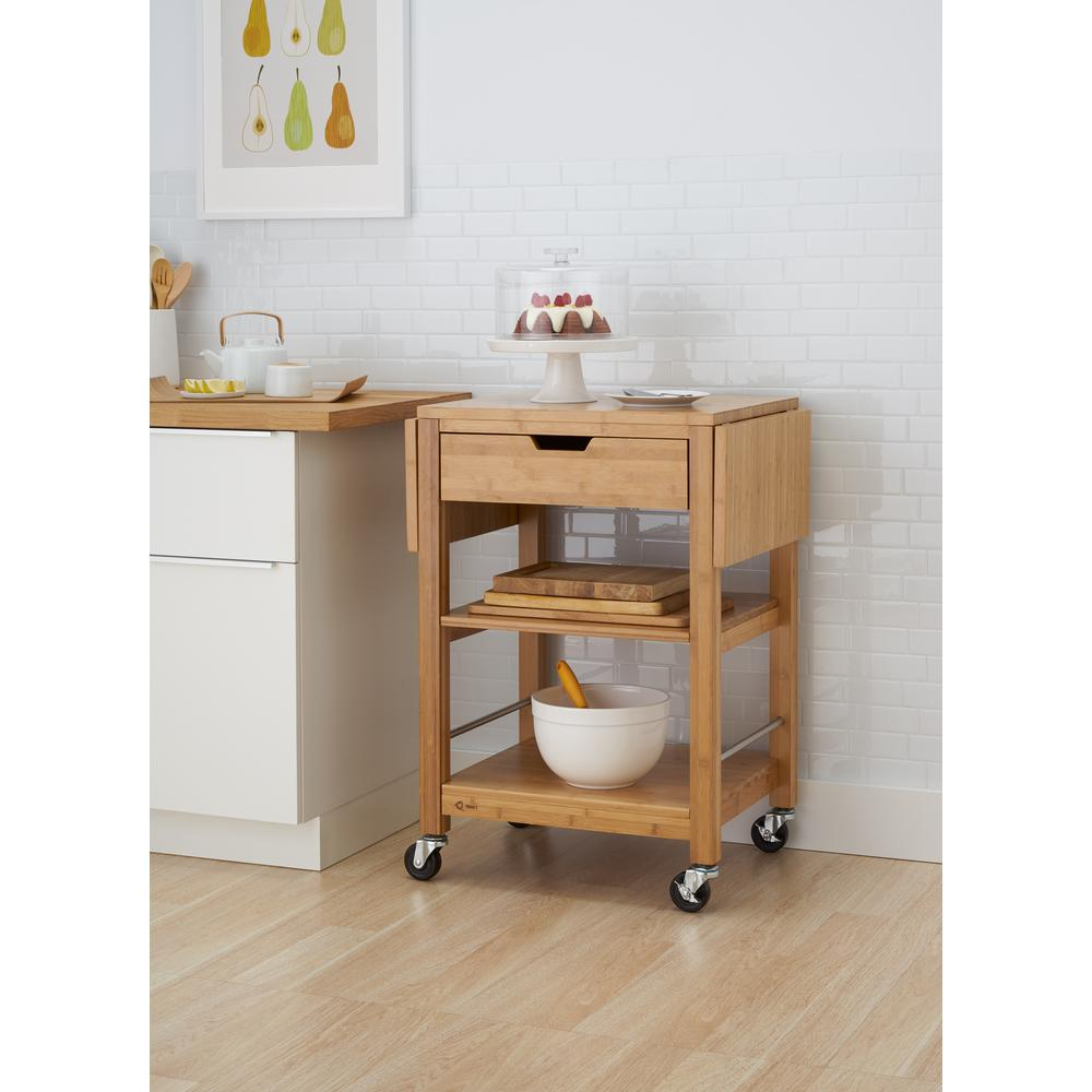 Trinity 24 in Bamboo Kitchen Cart with Drop LeafTBFLNA