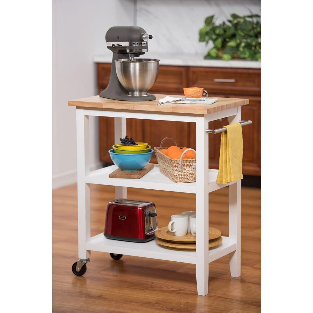 wooden kitchen cart drain clog trinity white with towel bar tbflwh 1402 the home depot