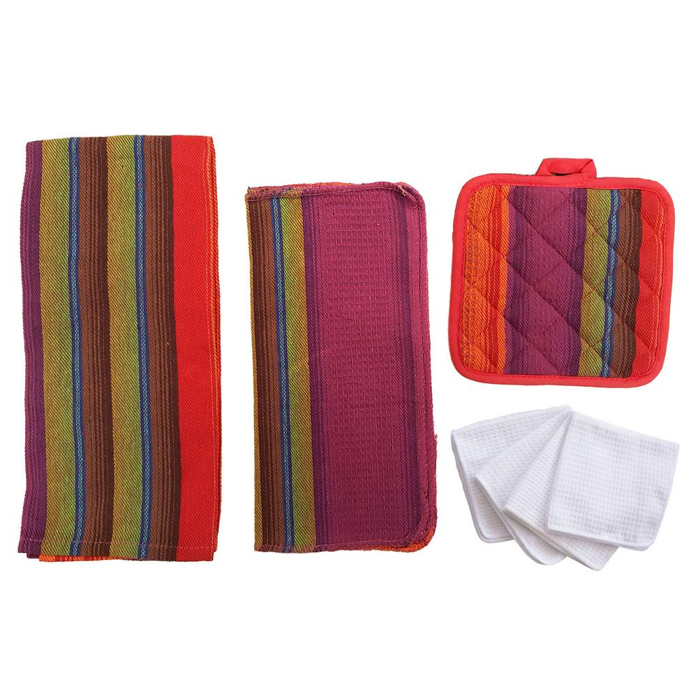 Home Basics Malibu Kitchen Towel Set in Purple 8Piece