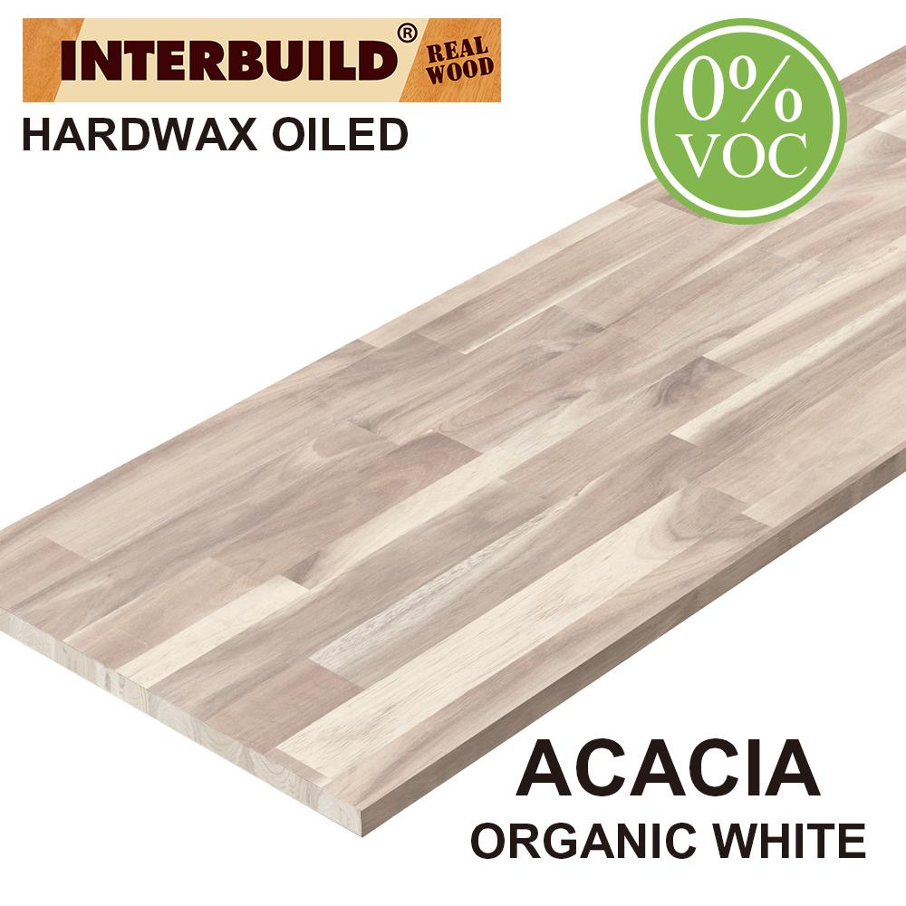 Interbuild Acacia 8 Ft L X 40 In D X 1 In T Butcher Block Countertop In Organic White Stain 672575 The Home Depot