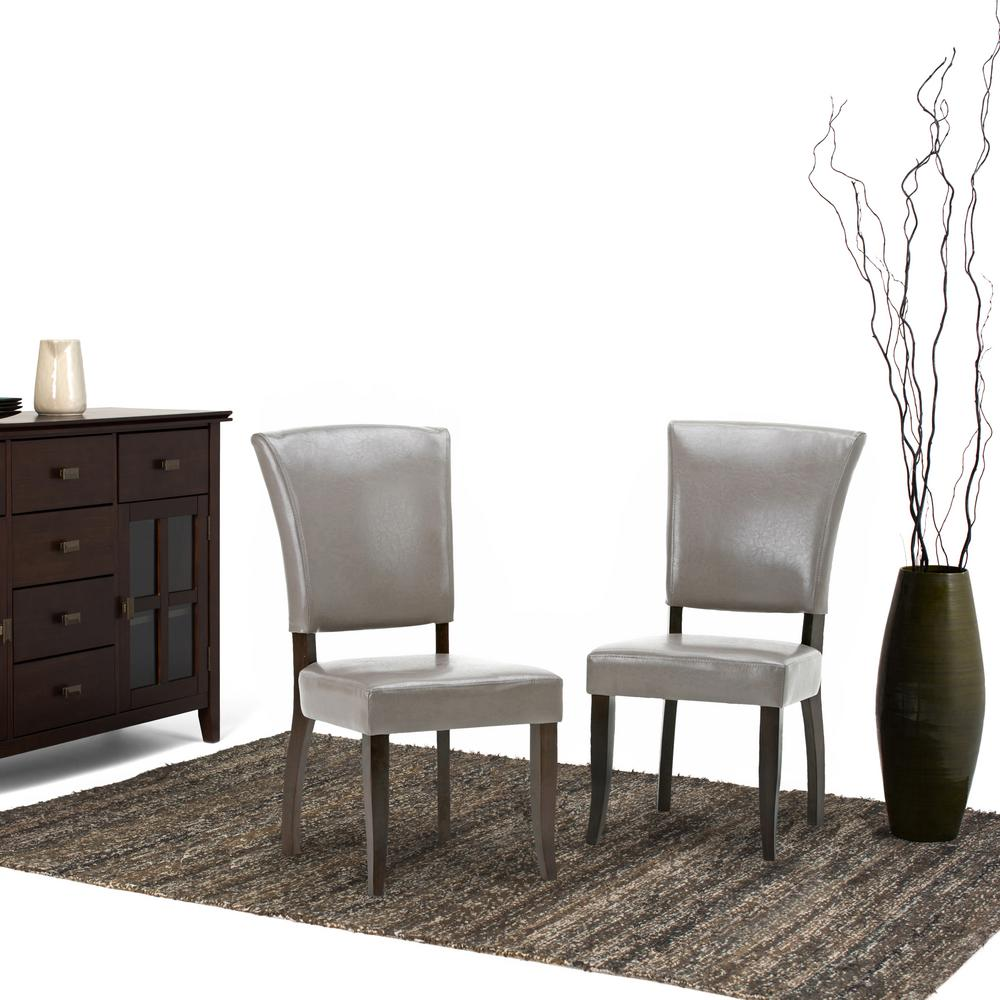 Simpli Home Joseph Taupe PU Faux Leather Dining Chair Set