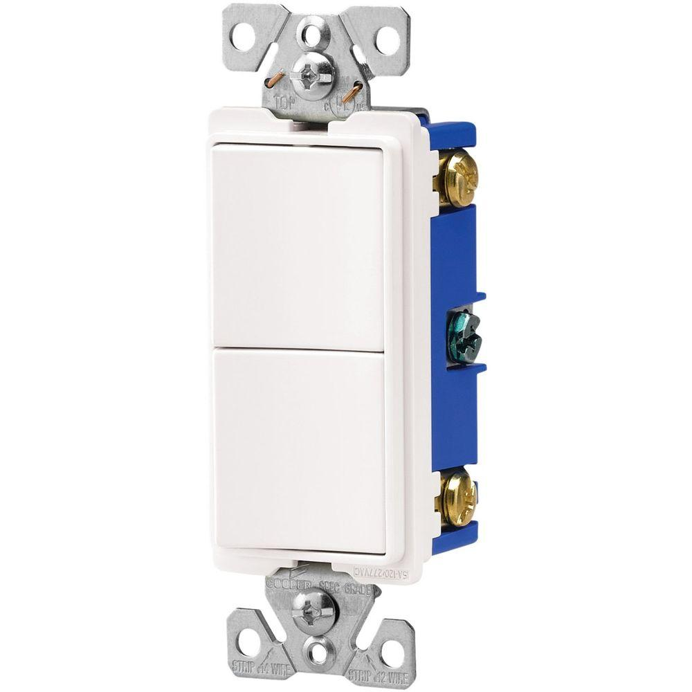 hight resolution of eaton 15 amp two single pole combination decorator light switch white