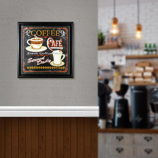 Crystal Art Fresh Coffee Caf Canvas Framed