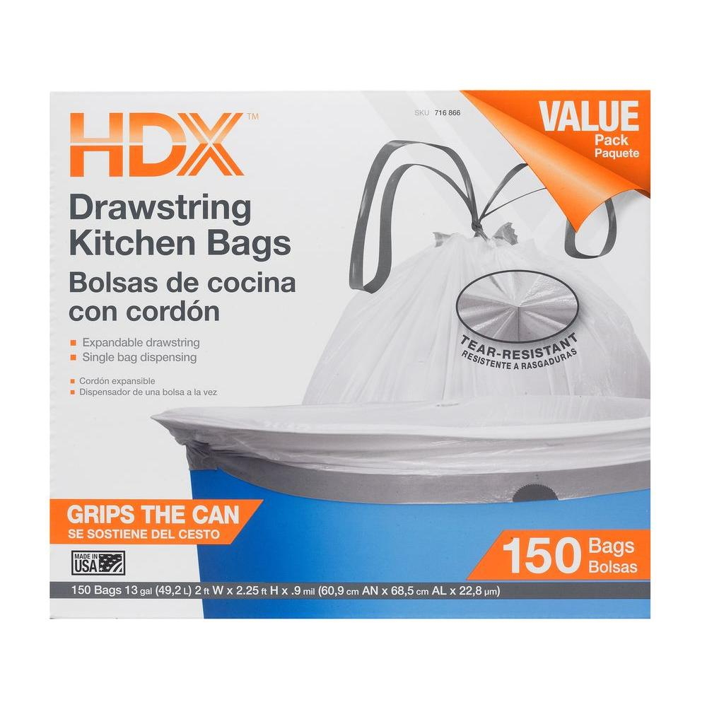 kitchen garbage bags home depot canada faucets hdx 13 gal drawstring white trash bag 150 count hdx716866