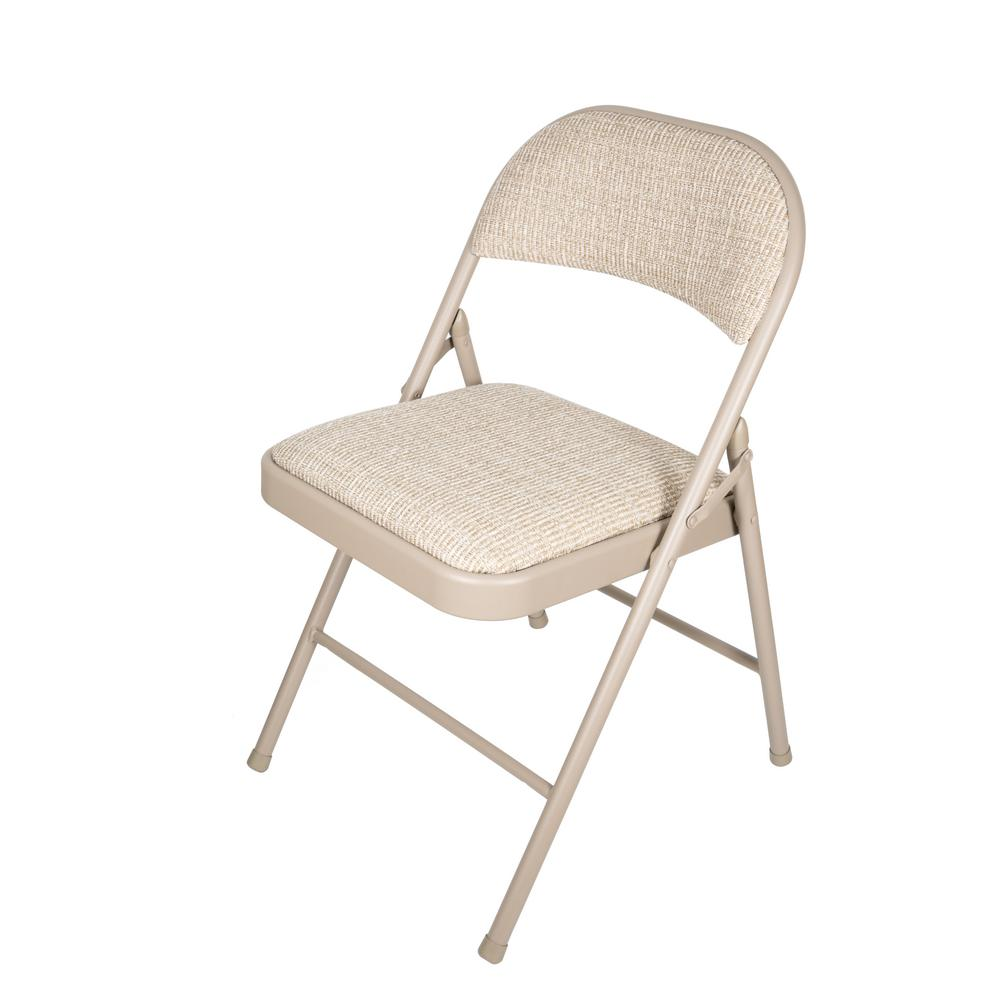 cloth padded folding chairs baby high chair toys r us apex garden beige deluxe fabric metal set of 4