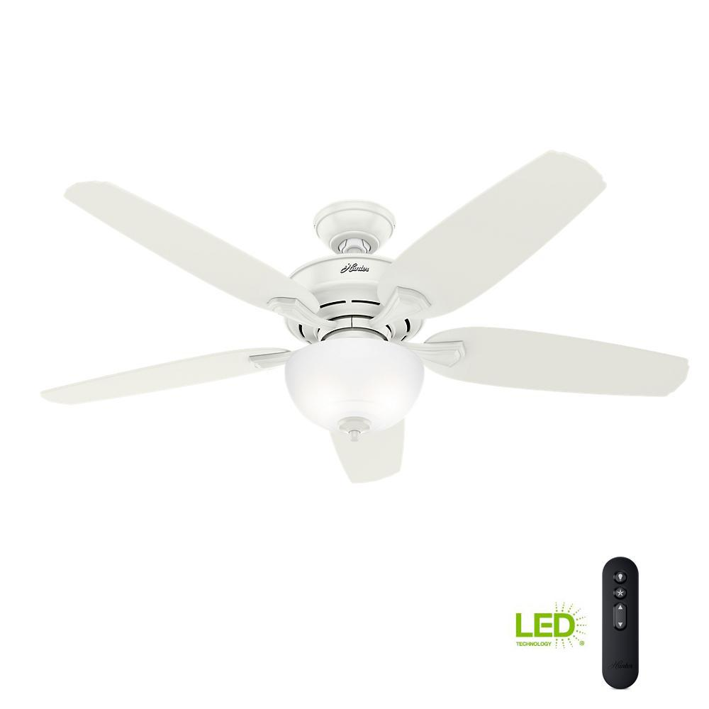 medium resolution of led indoor easy install fresh white ceiling fan with hunterexpress feature set