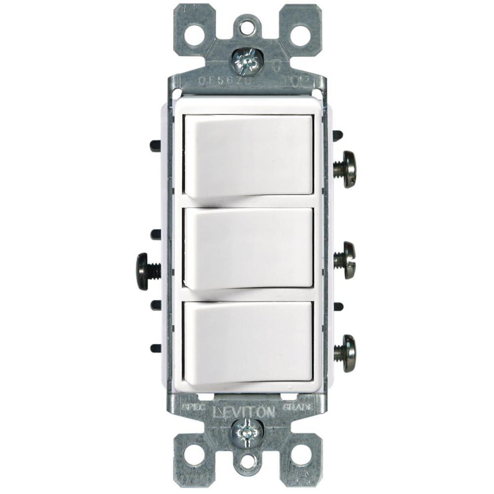 Leviton Decora 15 Amp 3 Rocker Combination Switch White R62 01755