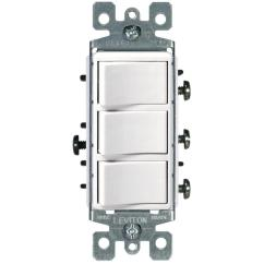 Leviton Combination Switch Outlet Wiring Diagram Cat5e Rj45 Socket Decora 15 Amp 3-rocker Switch, White-r62-01755-0ws - The Home Depot