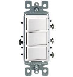 leviton decora 15 amp 3 rocker combination switch white [ 1000 x 1000 Pixel ]