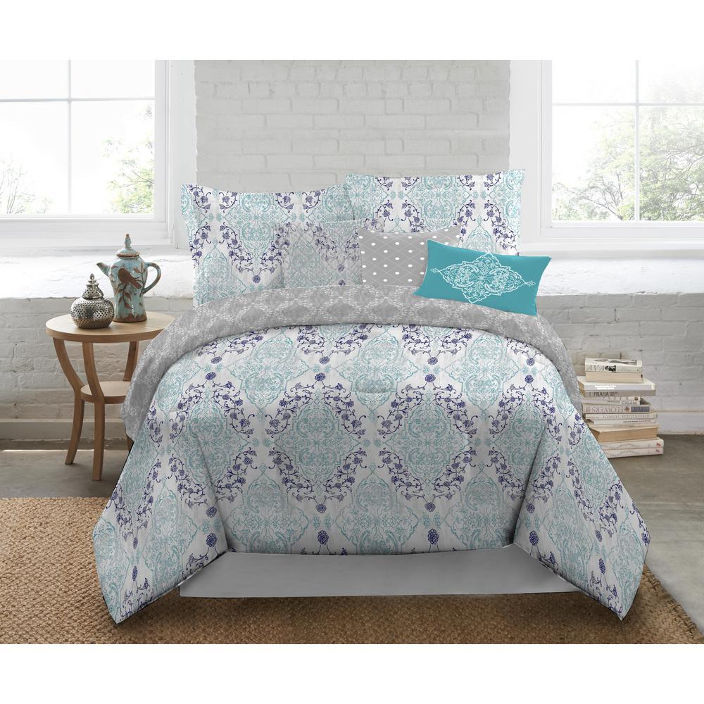 Nicole Miller Nicole Miller 5Piece Queen Multi Damask Comforter SetQEMMA999  The Home Depot