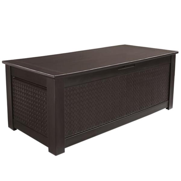 Rubbermaid 136 Gal. Chic Basket Weave Patio Storage Trunk Deck Box In Brown-1859951 - Home Depot