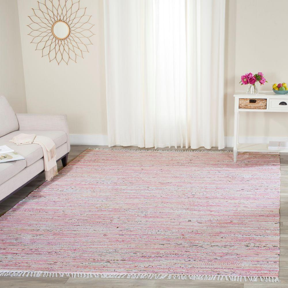 Safavieh Rag Rug Light PinkMulti 8 Ft X 10 Ft Area Rug RAR125E 8 The Home Depot